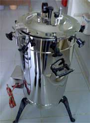 Autoclave for sterilization prior to mushroom growing